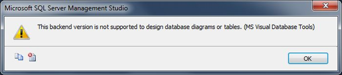 Error this backend version is not supported to design database this error occurs when you are using a version management studio that is not compatible with the sql server db it will let you create new databases but ccuart Choice Image